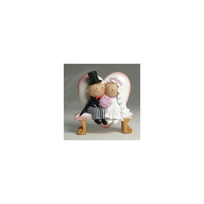 Figura pastel Pit&Pita novios banco corazón 15,5cm