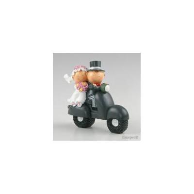 Figura pastel-hucha novios Pit-Pita moto 17cm