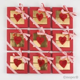 Caja 4napolitanas S.Valentín corazón fieltro