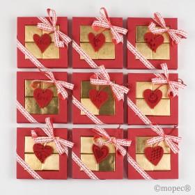 Caja 4napolitanas S.Valentín corazón fieltro min.9*