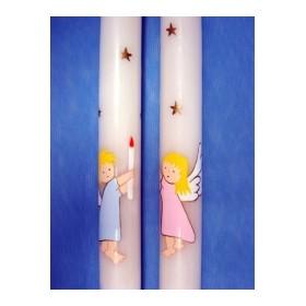 Cirio pintado ángel cesto estrellas