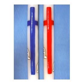 Cirio pintado a mano cruz alfa&omega