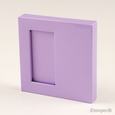 Caja marco 2 nap. charol lila 10x1,5x10cm min25