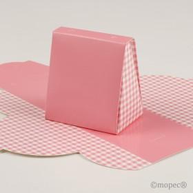 Caja vichy rosa 7,5x6,5x4,5cm min.25