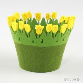 Cesto redondo fieltro tulipanes 10x12cm(diam.) min.4