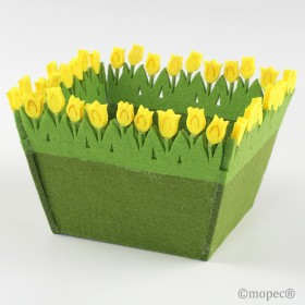 Cesto cuadrado fieltro tulipanes 14x10,5x10cm  min.4