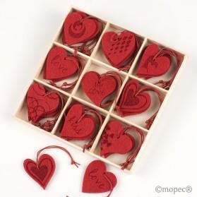 Corazón fieltro rojo, 9mod. caja de 36pc.