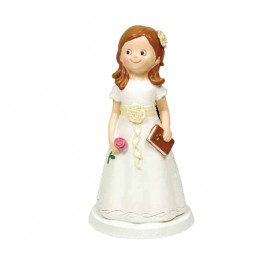 Niña comunión vestido blanco y flor 16,5cm