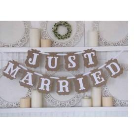 """Guirnalda boda """"Just married"""" papel kraft,precio por unidad"""