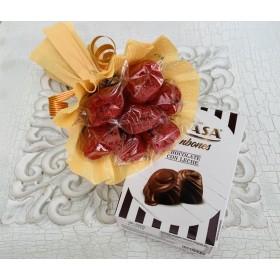 Pack ramo 7 rosas + Cajita de bombones