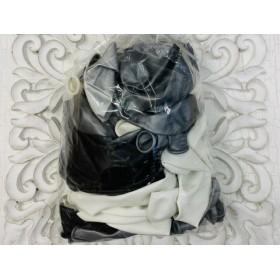 Pack Globos látex biodegradable combinados plata/blanco/negro