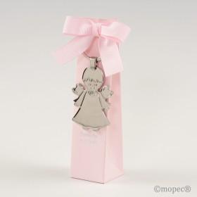 Llavero metal Angel niña en estuche rosa 5 peladillas